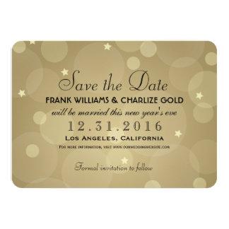 Casando reserva el oro de la fecha el | Champán Invitación 11,4 X 15,8 Cm