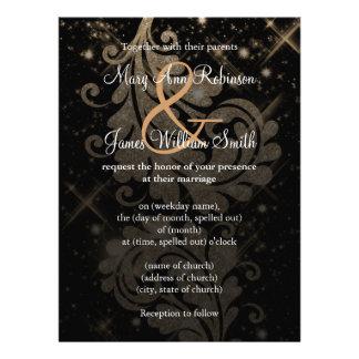 Casando reserva el remolino floral del brillo del invitación personalizada