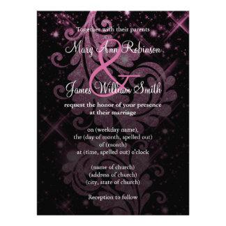 Casando reserva el remolino floral del brillo del invitacion personalizada
