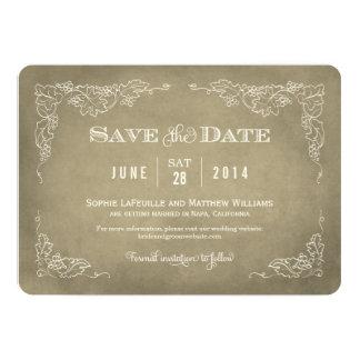 Casando reserva el vino del vintage de la tarjeta invitación 12,7 x 17,8 cm