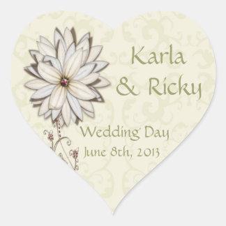Casando reserva la fecha con diseño floral pegatina en forma de corazón