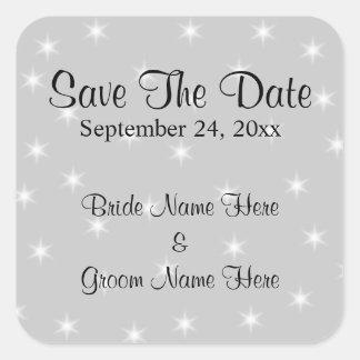 Casando reserva la fecha, palidezca el gris con pegatina cuadrada