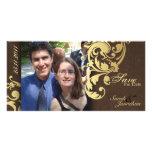 Casando reserva la invitación de la fecha - oro de tarjetas fotograficas