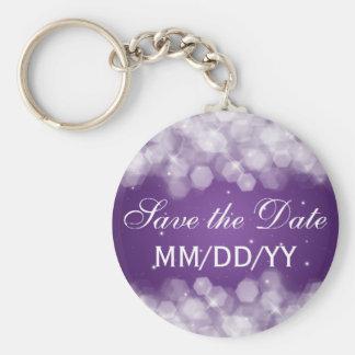 Casando reserva la púrpura de la chispa del fiesta llavero personalizado