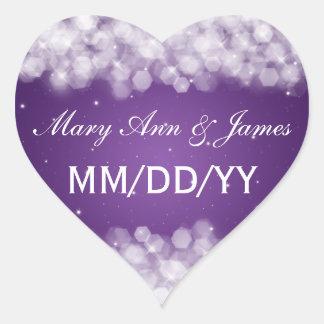 Casando reserva la púrpura de la chispa del fiesta calcomanía corazón personalizadas