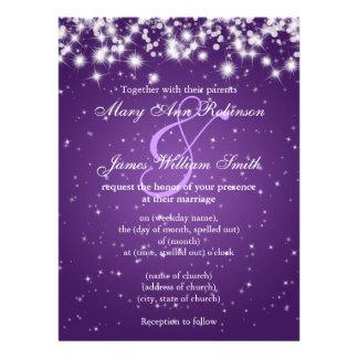 Casando reserva la púrpura de la chispa del invier invitación personalizada