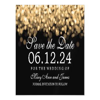 Casando reserva las luces del oro de la fecha invitaciones magnéticas
