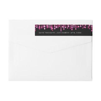 Casando reserva las luces rosadas modernas de la etiquetas postales
