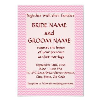 """Casandose - el zigzag rosado, pica el fondo invitación 4.5"""" x 6.25"""""""
