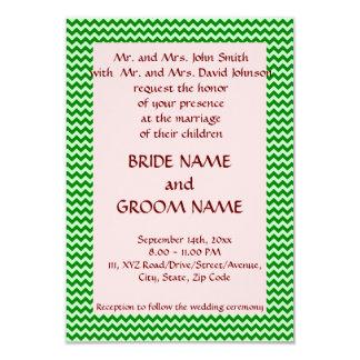 """Casandose - el zigzag verde, pica el fondo invitación 3.5"""" x 5"""""""