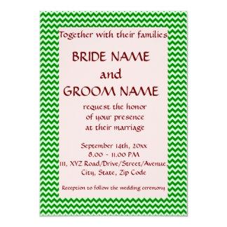 """Casandose - el zigzag verde, pica el fondo invitación 4.5"""" x 6.25"""""""