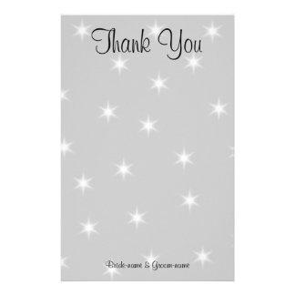 Casandose gracias, gris pálido con las estrellas b papelería personalizada