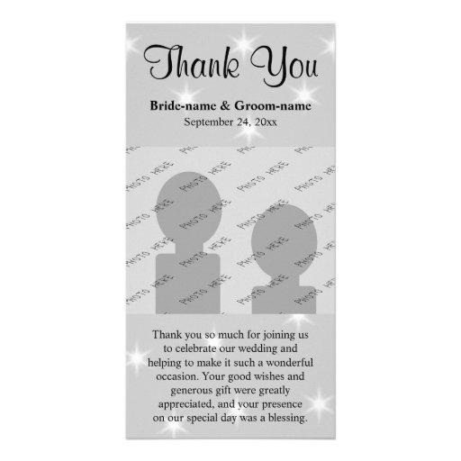 Casandose gracias, gris pálido con las estrellas b tarjetas fotograficas personalizadas
