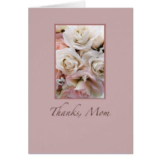 Casandose, gracias mamá, rosas tarjeta de felicitación