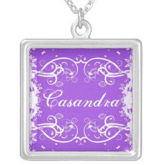 """Casandra"" on purple flourish swirls necklace"
