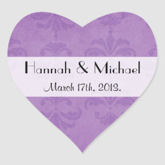 Casar - damasco francés, ornamentos - púrpura pegatina en forma de corazón