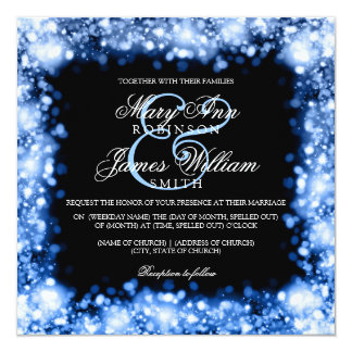 """Casar el azul chispeante del zafiro de las luces invitación 5.25"""" x 5.25"""""""