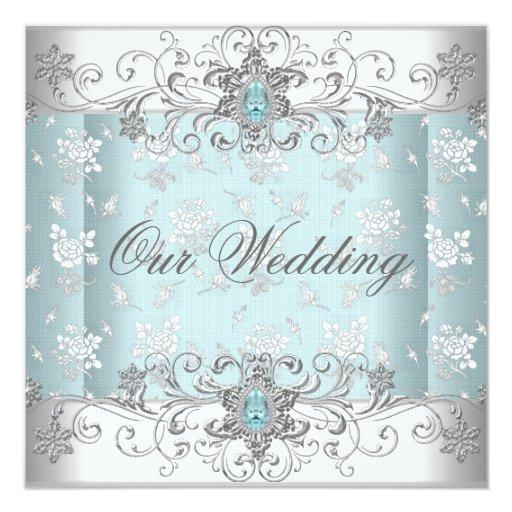 Casar el cordón blanco de plata azul de la joya invitación 13,3 cm x 13,3cm