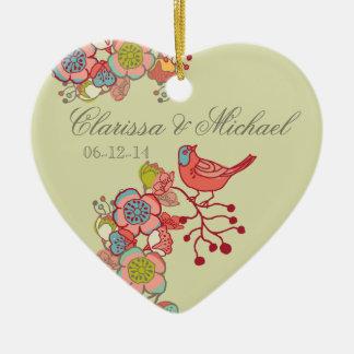 Casar el ornamento banal del recuerdo del corazón  ornamento para arbol de navidad
