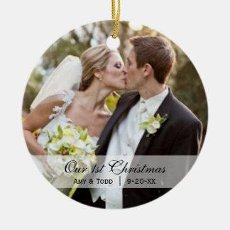 Casar el primer ornamento de la foto del navidad ornamento de navidad