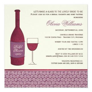 Casar la ducha nupcial invita a tema del vino del invitación 13,3 cm x 13,3cm