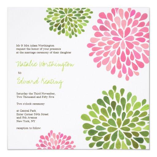 Casar la flor rosada y verde florece invitación