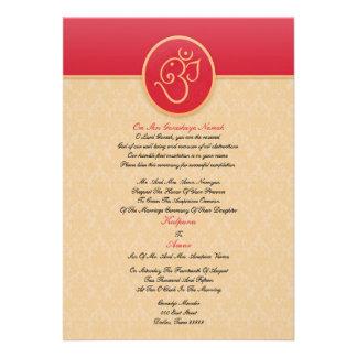 Casar la invitación plana del estilo indio