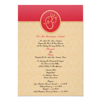 Casar la invitación plana del estilo indio invitación 12,7 x 17,8 cm