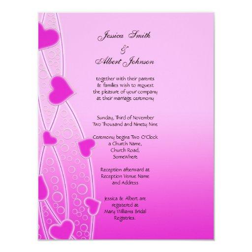 Casar la invitación rosada de los corazones invitación 10,8 x 13,9 cm
