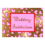 Casar la invitación rosada de los corazones