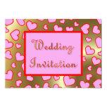 Casar la invitación rosada de los corazones invitación 12,7 x 17,8 cm