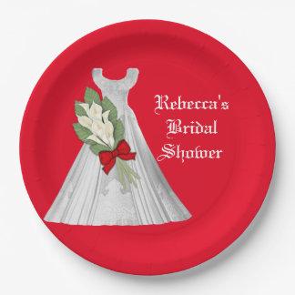 Casar la placa de papel de la ducha nupcial plato de papel de 9 pulgadas