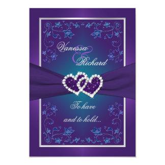 Casar la púrpura del  , hoja el   de los corazones invitación personalizada