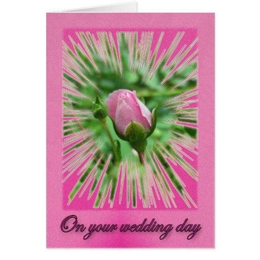 Casar la tarjeta subió rosada del brote de los des