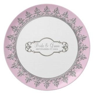 Casar las placas barrocas personalizadas del remol plato de comida