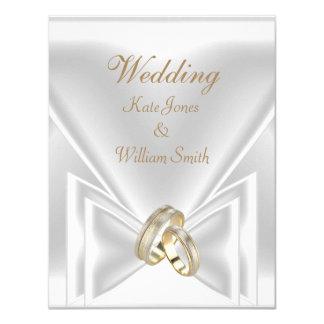 """Casar los anillos de oro blanco elegantes invitación 4.25"""" x 5.5"""""""