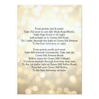 Casar luces del brillo del oro de las direcciones invitaciones personales