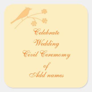 Casar personalizar inmóvil y civil de la ceremonia pegatina cuadrada
