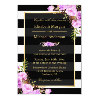 """Casar rayas florales púrpuras del blanco del negro invitación 5"""" x 7"""""""