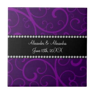 Casar remolinos de la púrpura de los favores azulejo cuadrado pequeño