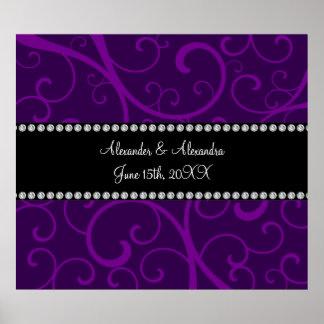 Casar remolinos de la púrpura de los favores póster
