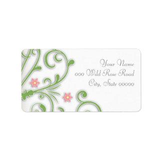 Casar rosa y etiquetas de dirección florales verde