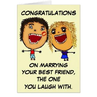 Casar su dibujo animado del mejor amigo tarjeta de felicitación
