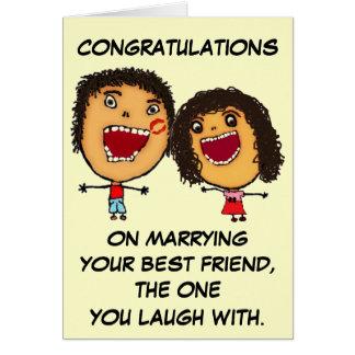 Casar su enhorabuena del mejor amigo tarjeta de felicitación