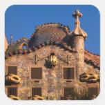 Casas Batilo, arquitectura de Gaudi, Barcelona, Pegatina Cuadrada