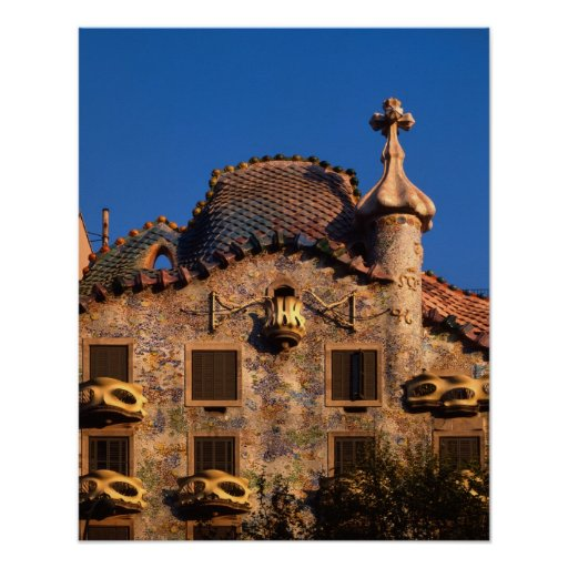 Casas Batilo, arquitectura de Gaudi, Barcelona, Póster