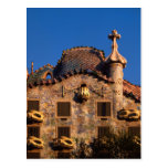 Casas Batilo, arquitectura de Gaudi, Barcelona, Postal