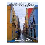 Casas coloridas de la postal vieja de San Juan
