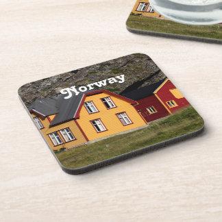 Casas coloridas de Noruega Posavasos