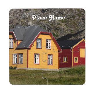 Casas coloridas de Noruega Posavasos De Puzzle